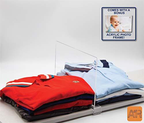 A & R - Separadores de estantes de acrílico transparente para armarios de cocina, armarios, estanterías, vitrinas de exhibición, estantes de zapatos, fácil instalación,...