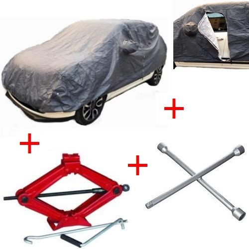 Autodeken voor Toyota Yaris met voering en ritssluiting, universele maat M, waterdicht + krik voor banden + schroefsleutel