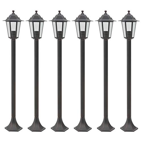 vidaXL 6x Lampioni da Giardino E27 Alluminio Bronzo Luce da Esterno Lanterna