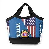 Bolsa térmica para el almuerzo con diseño de veterano estadounidense de la bandera estadounidense 82