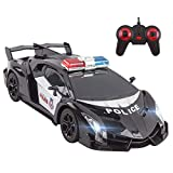 Vokodo Police RC Car Super Exotic 12' 1:16 Scale Size Kids Remote Control Easy to Operate Toy Sports Cars with Functional LED Headlights Cop Race Vehicle Full Function Great Gift for Boys (Black)
