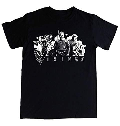 Mens Ragnar Lothbrok Lagertha Rollo Floki Logo Vikings T-Shirt Size S-3Xl