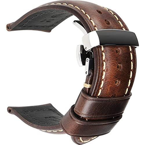 TNSYGSB Correa de piel, correa de 18 mm a 24 mm, hebilla de mariposa, accesorios de pulsera, correa casual para iwatch (color marrón oscuro, tamaño: 20 mm)