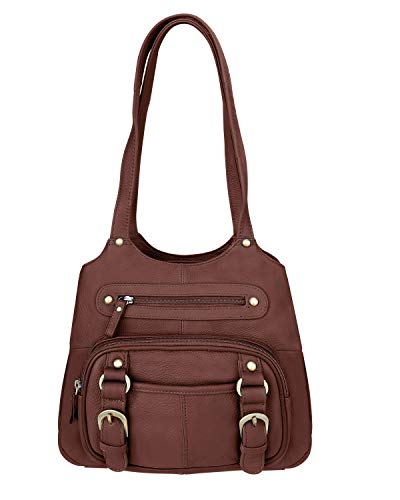 Roma Leathers Concealed Carry Purse - Genuine Leather Locking CCW Gun Bag - Left and Right-Hand Draw (7096-BRN)