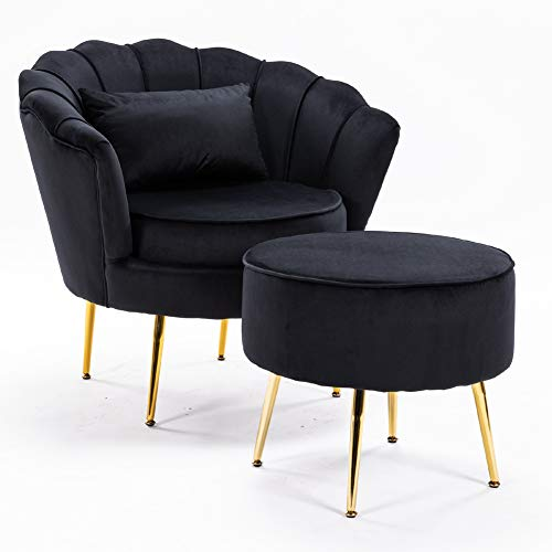 LZWZW Lounge Chairs Arm Chair with Footstool Living Room Velvet Tub Armchairs Palting Metal Leg Armrests Sofa Chair (Black)