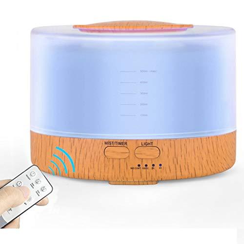 STRIR 500ML Humidificador Ultrasónico,Difusor Aromaterapia de Gran Capacidad Grano de Madera, Difusor de Aceites Esenciales con Control Remoto, 7 Color LED,4 Temporizador Hogar (Amarillo)