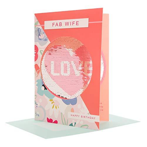 Hallmark Omkeerbare Pailletten Vrouw Verjaardagskaart 'Liefde' - Medium