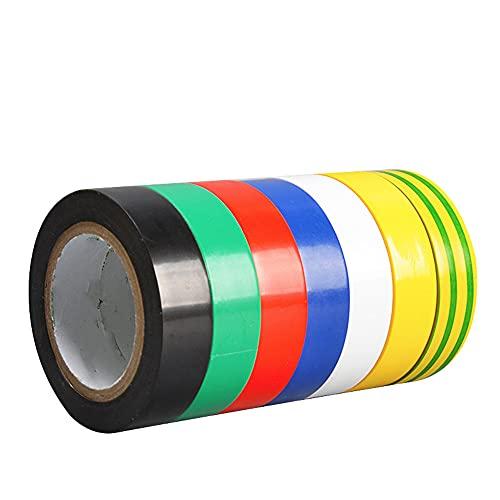 7 colores Cinta aislante eléctrica de PVC,Impermeabilización Protección Cinta aislante para aislamiento...