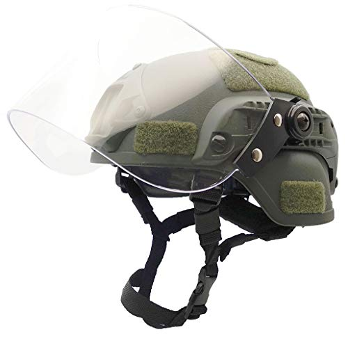 Airsoft Tactical MICH2000 Helmet with Visor Face Shield Face Protection (Green)