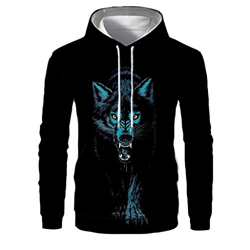 GreatestPAK 3D Wolf Druck-Serie Herren Hoodie Freizeit Sweatshirt Langarm Tops Hoodie,Schwarz,Etiketten:2XL(Büste:116cm)