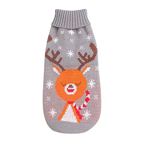 Jersey para perros y gatos, Navidad, cuello alto, cuernos de reno, hojas...