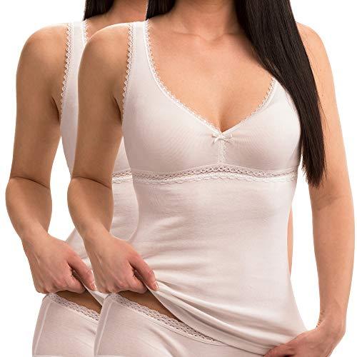 HERMKO 15804740 2er Pack Damen BH-Hemd aus 100% Bio-Baumwolle, Farbe:weiß, Größe:36/38 (S)