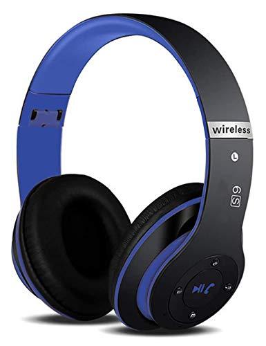 6S Casque Bluetooth sans Fil, écouteurs stéréo sans Fil Hi-FI Écouteurs avec Microphone intégré, Pliable Supra-Auriculaire Casque sans Fil Pour iPhone/Samsung/iPad/PC (Bleu Noir)