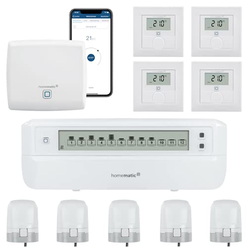 Homematic IP Funk Fußbodenheizungssteuerung - motorisch. Inhalt: Access Point, 4 Wandthermostate, 5 Stellantriebe und 1 Fußbodenheizungsaktor. Mit App und Alexa kompatibel.