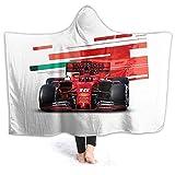 XCNGG Manta con Capucha Hooded Blanket Throw Charles Leclerc Formula 1 Super Soft Sherpa Fleece Blanket Hood Poncho Cloak Cape