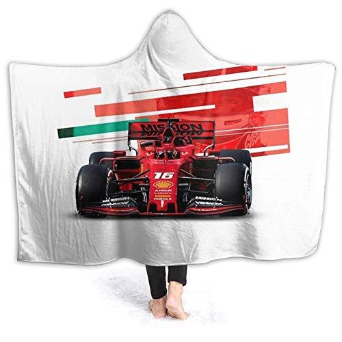 DJNGN Manta con Capucha Throw Charles Leclerc Formula 1 Super Soft Sherpa Fleece Manta Capucha Poncho Capa Capa