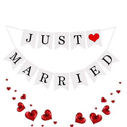 Just Married Banner, Wedding Decorations Banners Just Married Letter Bunting with Ribbon, Wedding Hanging Sign Garland Pennant Photo Booth Props for Bridal Shower Wedding Engagement Car Decoration