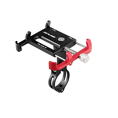 Lixada Bicicleta Teléfono Titular 360 Grado Giratorio Longitud Ajustable de Aluminio Manillar de Bicicleta de Montaje (Negro-Rojo)