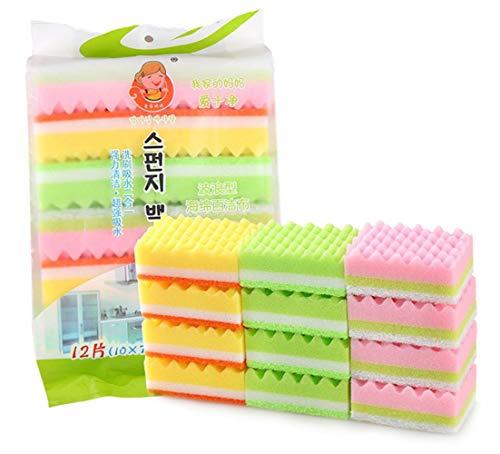LLine 12st keuken vaatwas spons blok schuurspons spons reinigingsblok dubbelzijdig sterke decontaminatie waspot veeg, 12st