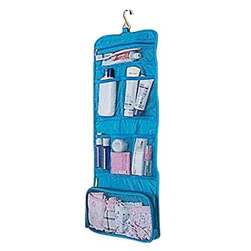 Impresión de 1x Fashion plegable neceser almacenamiento paquete de almacenamiento Caja para Viaje Bolsa De Aseo Neceser Bolsa de viaje neceser de viaje para Hombres y Mujeres, azul