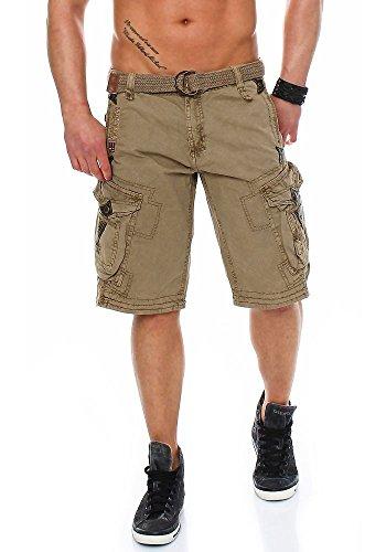 Geographical Norway Perle Pantaloni corti cargo da uomo, con cintura Beige Medium