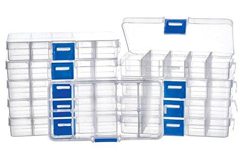 VBS Großhandelspackung 10er-Pack Sortimentsboxen transparent eckig 10 Fächer 13x6,5x2cm