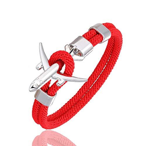 Moda Avión Ancla Hombres de Las Pulseras del Encanto de la Cuerda de la Cadena de Estilo Fuerza de la Pulsera de Paracord Hombre Mujeres Aire Gancho de Metal Wrap Deporte, Rojo, 23cm