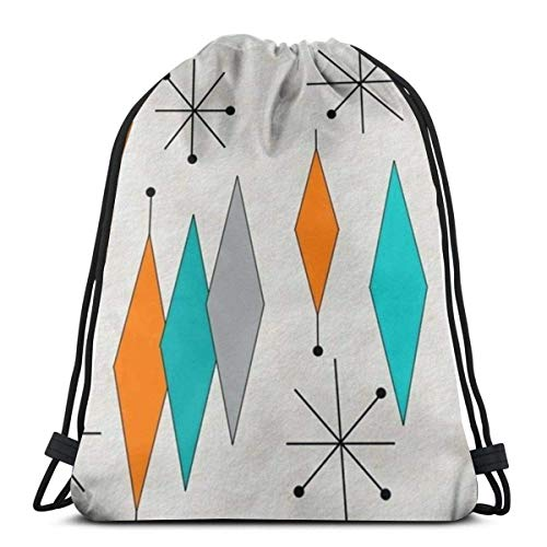 "Emonye Mid Century Modern Diamond Pattern 3D Print Drawstring Backpack Rucksack Shoulder Bags Gym Bag for Adult 16.9\""X14\"""