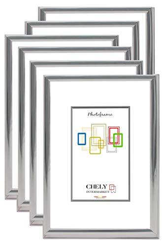 Chely Intermarket, Marcos de Fotos Plata 10x15cm MOD-3321 (Pack 6 Unds) (Bañado en Plata con Textura Brillante) | Especial para despacho y recibidor | Fotografías de Bodas.(3321-10x15*6-0,15)