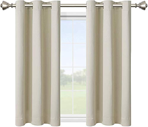 LORDTEX Blackout Curtains for Bedroom -Embossed Design Thermal Insulated Curtains with Grommet Top Room Darkening Noise Reducing Window Drapes for Living Room, 2 Panels, Cream, 42 x 63 inch