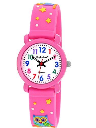alles-meine GmbH - Uhr Fußball 3-D Kinderuhr Eule pink - Uhr Kinder Armbanduhr Silikon Tiere Eulen Tier Mädchen Analog - Eulenuhr