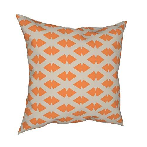 Fundas de almohada, diseño de enrejado, color plateado pálido, naranja, para sofá, sala de estar, cama, 45,7 x 45,7 cm