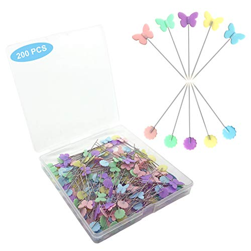 200pcs Sewing Pins Flat Head Straight Pins with Butterfly and Flower Colored Heads, Long 2.16inch Quilting Pins for Dressmaker, Craft, Sewing Project and DIY Decoration