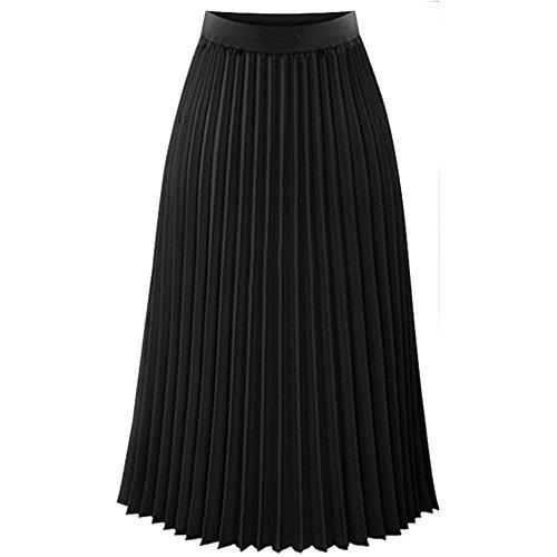QinMM Falda de Plisado de Elegante Noche Mujer Skirt Cintura elástica Casual Fiesta, Negro, XL