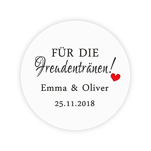 48x personalisiert Liebe Herz Hochzeitssticker - 'Für die Freudentränen' Gewebe Aufkleber - 4 cm...