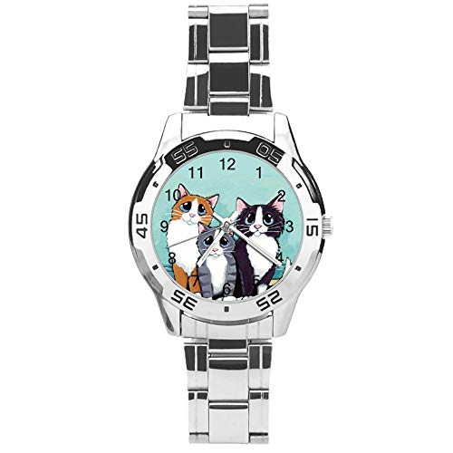 Classic Three Hand Quartz Watch with Stainless Steel Strap,Dial Big Eyed Cat Pattern,Adjustable Automatic Strap,Silver,for Unisex,Best Gift (41mm) l366y5vn5oye