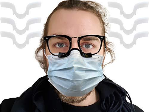 DINGJIUYAN Puente de nariz antivaho, clip de silicona reutilizable antivaho, no se cae, aumenta el espacio respiratorio ayuda a respirar suave, evita que las gafas se empañen (blanco, 5)