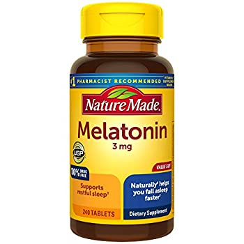 Nature Made Melatonin 3 mg Sleep Aid Supplement for Restful Sleep 240 Tablets 240 Day Supply