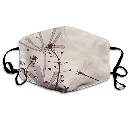Winddichte Maske, Grunge Style Design Blumen Blätter und Käfer Fliegen Flügel Bild, Gesichtsdekorationen für Erwachsene