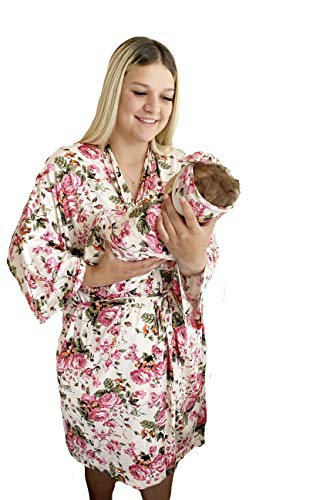 Aspen Lane Matching Robe and Swaddle Set Baby Girl (Ivory Floral, L/XL)