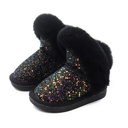 XZJJZ. Kind Leder Kinder Schneestiefel Mädchen Kaninchen Fell Mode Boot Baby Baumwolle Sport Schuhe Pailletten...