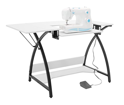 Sew Ready Comet Sewing Table, 13332, Black/White, 45.5' W x 23.5' D x 30' H