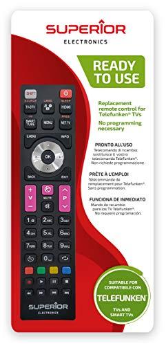 Superior Electronics SUPTRB016 Telefunken Replacement, Mando de Repuesto Universal Compatible con Todos los televisores y Smart TV de Marca Telefunken, Listo para Usar, no Requiere programación, Negro