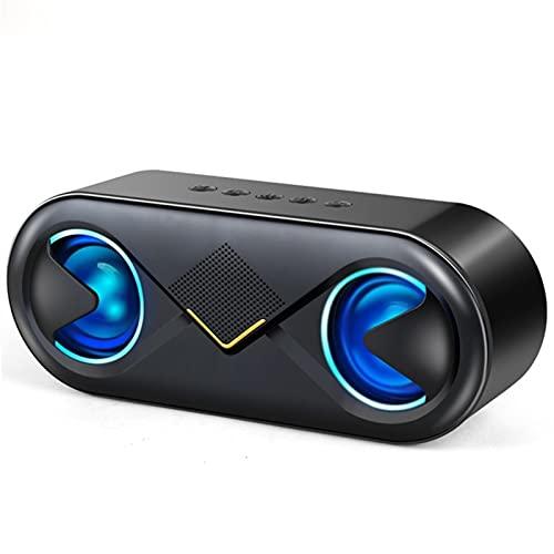 Altavoces portátiles Bluetooth 5.0, 10 W inalámbrico estéreo Bass HiFi Altavoz Soporte Tf Tarjeta Aux Usb Manos libres con Flash Led (negro)