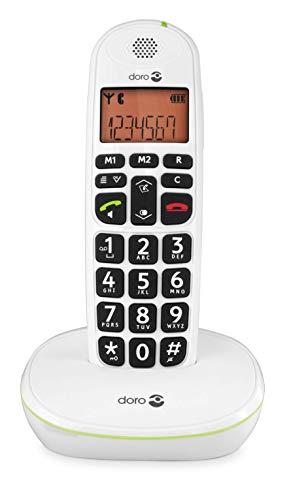 Doro PhoneEasy 100w Téléphone sans Fil DECT pour Seniors avec Grandes Touches et Son Amplifié (Blanc X 1) [Version Française]