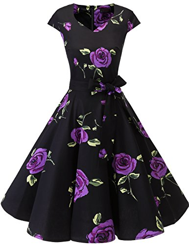 Dresstells Vintage 50er Swing Party kleider Cap Sleeves Rockabilly Retro Hepburn Cocktailkleider Purple Flower S