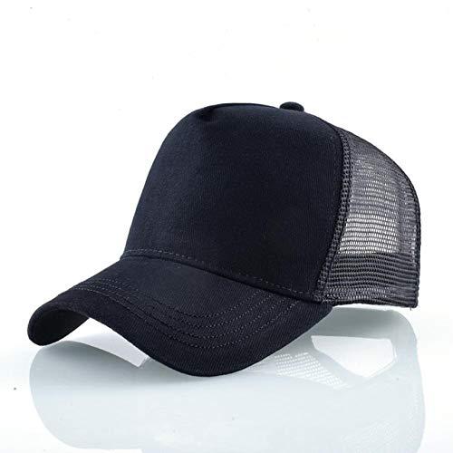Gorras de béisbol de Moda Hombres Mujeres Snapback Hip Hop Sombrero Verano Malla Transpirable Sun Gorras Unisex Streetwear-Black