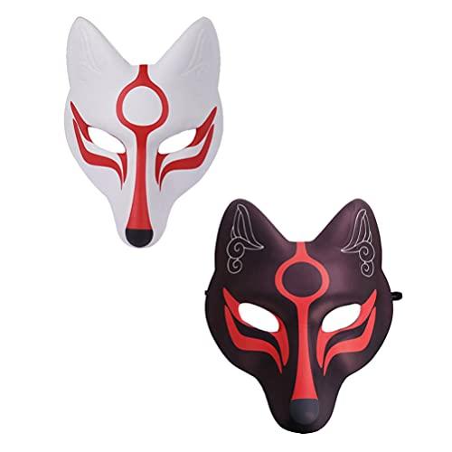 PRETYZOOM 2 Piezas Fox Face Cover Japonés Kabuki Kitsune Cosplay para Disfraces de Halloween Accesorios de Escenario