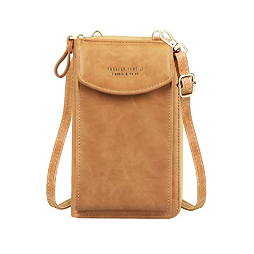 Jangostor Pequeño bolso cruzado para teléfono móvil, cartera con ranuras para tarjetas de crédito para mujer, A-marrón-2, small,