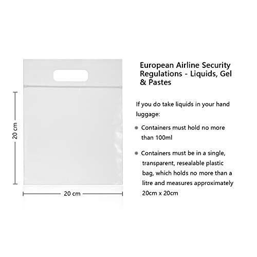 MOCOCITO Kulturbeutel durchsichtig und 8 Stück Reiseflasche Set (max.100ml) und Plastikbeutel für Flüssigkeiten zugelassen (20x20cm) nach EU&UK Handgepäckbestimmungen Kulturtasche für Flüssigkeiten